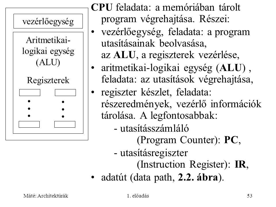 Máté: Architektúrák1. előadás53 CPU feladata: a memóriában tárolt program végrehajtása. Részei: vezérlőegység, feladata: a program utasításainak beolv