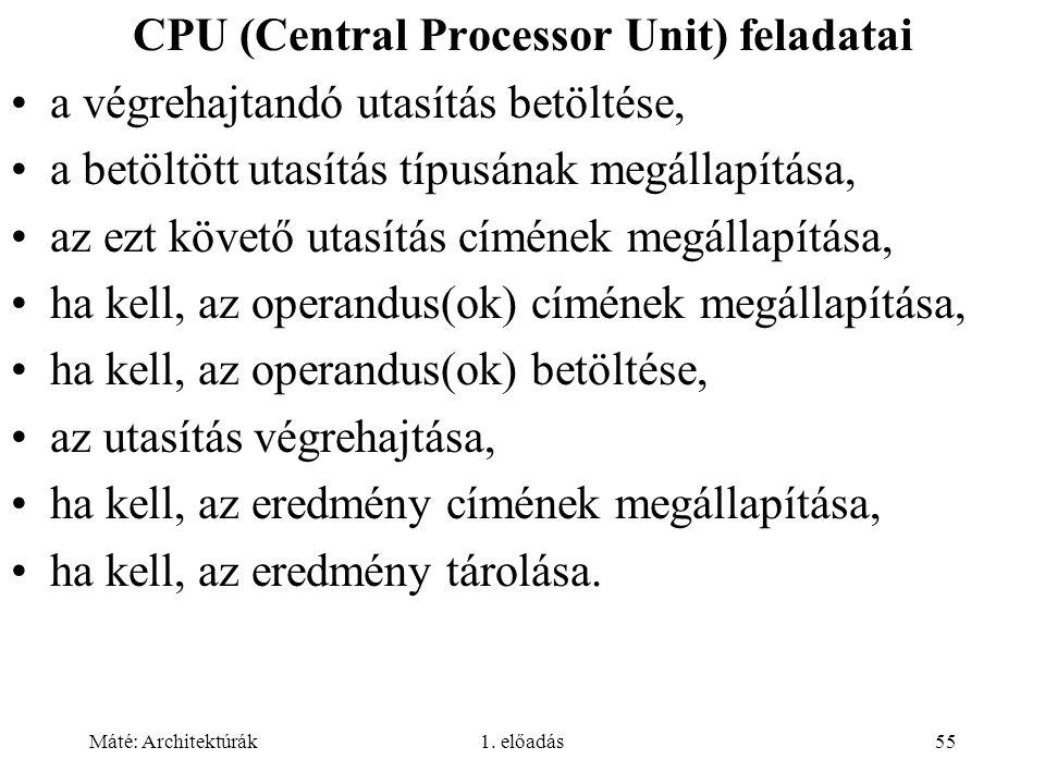 Máté: Architektúrák1. előadás55 CPU (Central Processor Unit) feladatai a végrehajtandó utasítás betöltése, a betöltött utasítás típusának megállapítás