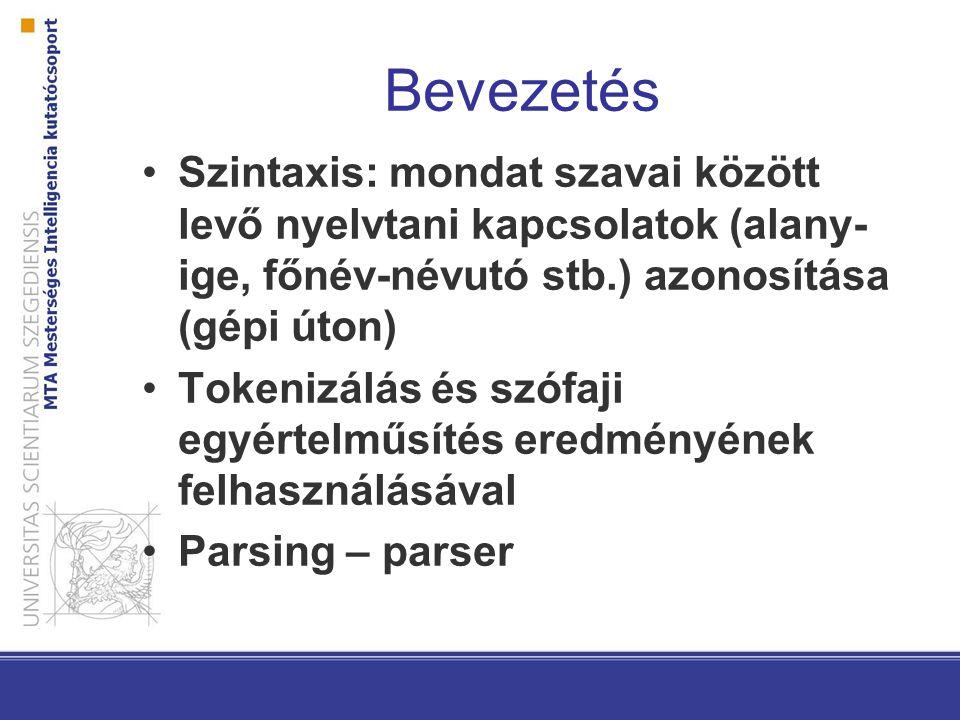 Mondatbeli egységek Frázisok: szorosabban összetartozó elemek –Főnévi csoportok (NP): én, a sárga ház, Pisti kutyája… –Ezek töltik be a különféle nyelvtani szerepeket (alany, tárgy…) predikátum-argumentum viszonyok –nem csak ige lehet predikátum (melléknevek (féltékeny vkire), esemény jelentésű főnevek (vkik közötti háború)…)
