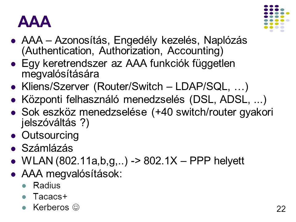 22 AAA AAA – Azonosítás, Engedély kezelés, Naplózás (Authentication, Authorization, Accounting) Egy keretrendszer az AAA funkciók független megvalósít
