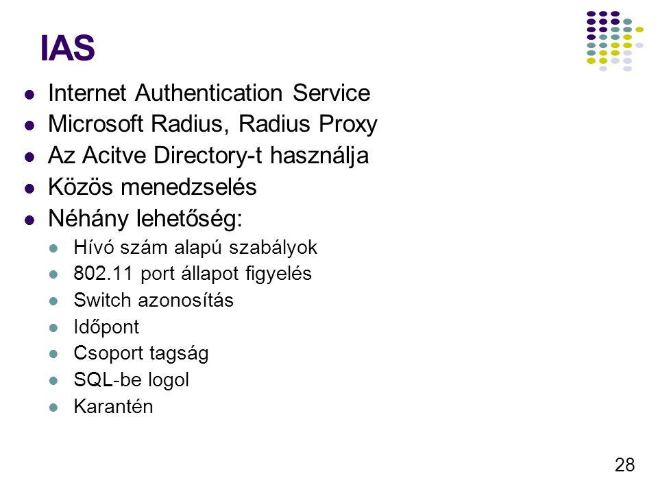 28 IAS Internet Authentication Service Microsoft Radius, Radius Proxy Az Acitve Directory-t használja Közös menedzselés Néhány lehetőség: Hívó szám al