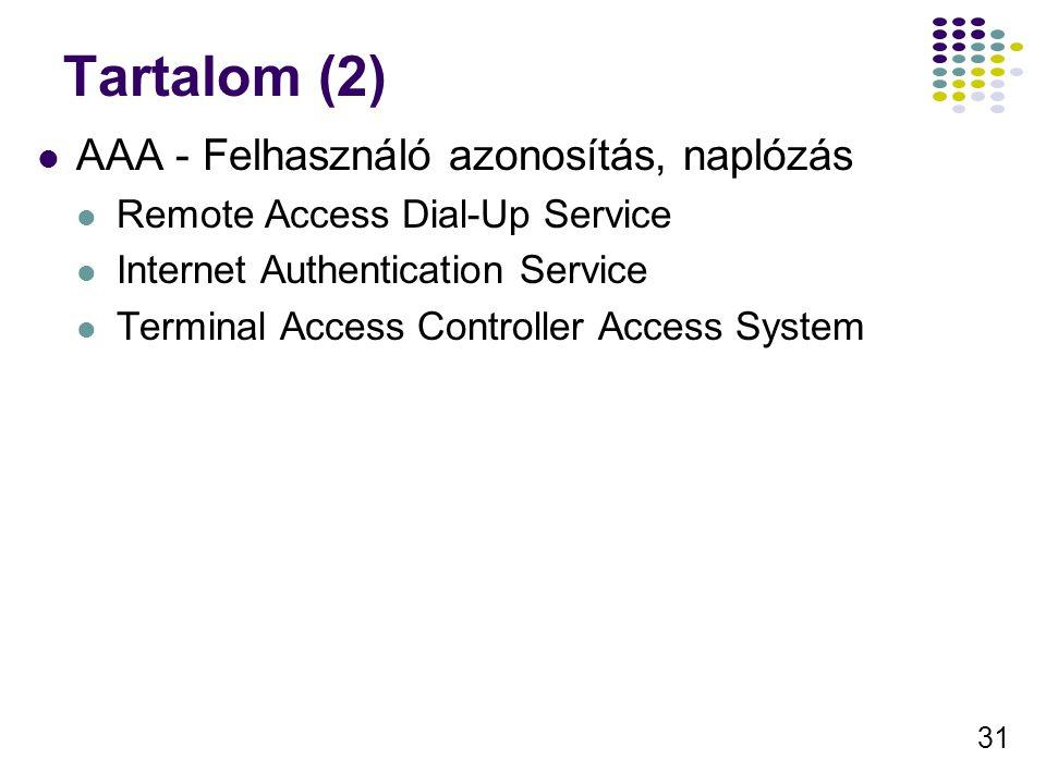 31 Tartalom (2) AAA - Felhasználó azonosítás, naplózás Remote Access Dial-Up Service Internet Authentication Service Terminal Access Controller Access