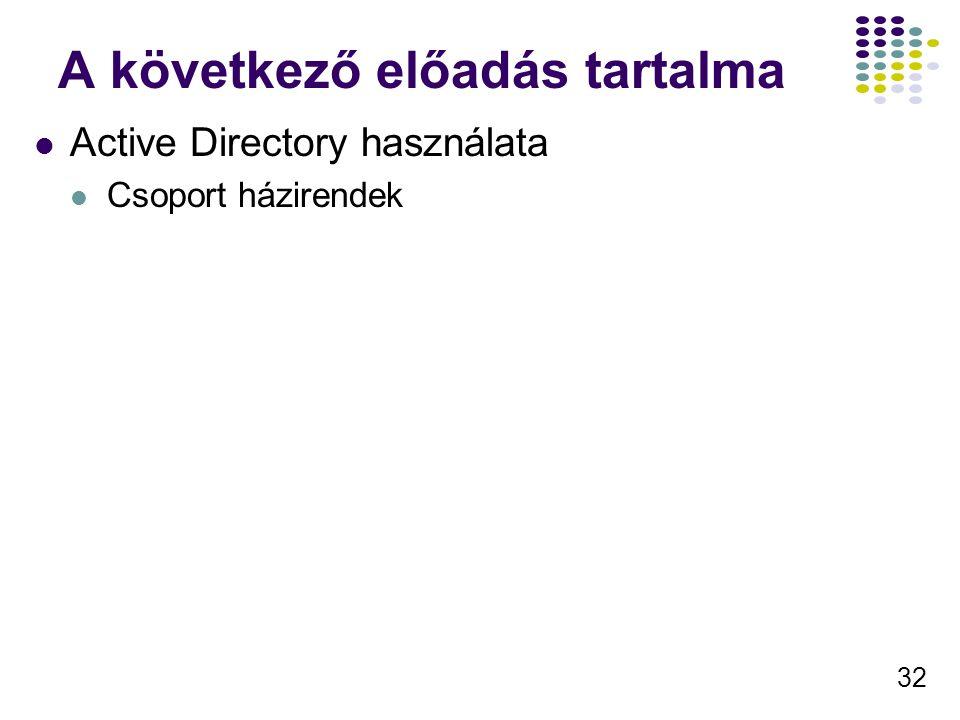 32 A következő előadás tartalma Active Directory használata Csoport házirendek