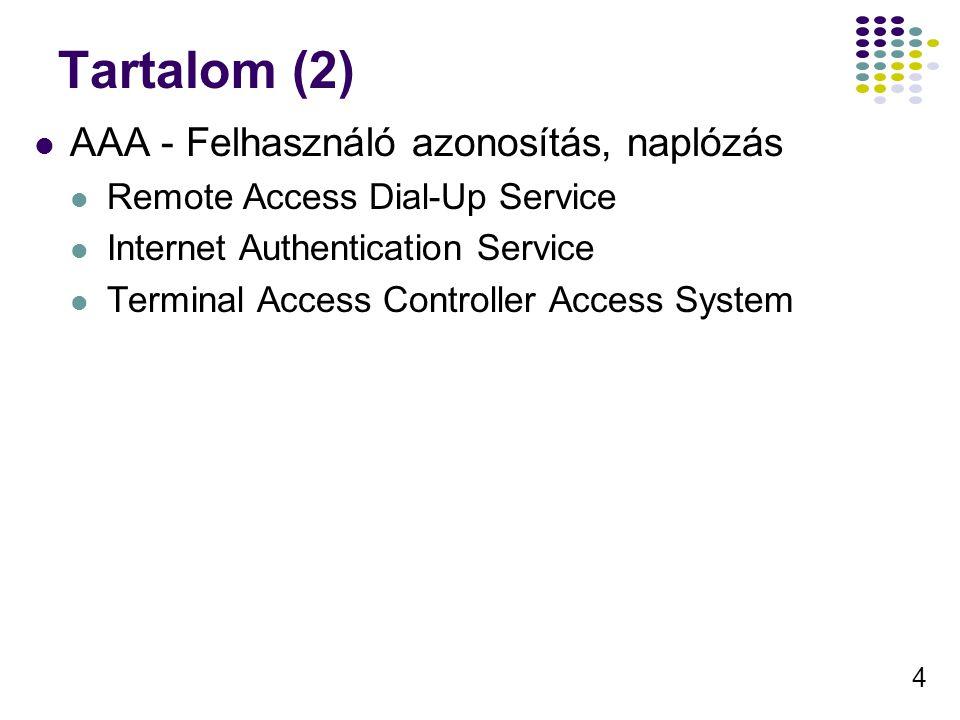 4 Tartalom (2) AAA - Felhasználó azonosítás, naplózás Remote Access Dial-Up Service Internet Authentication Service Terminal Access Controller Access