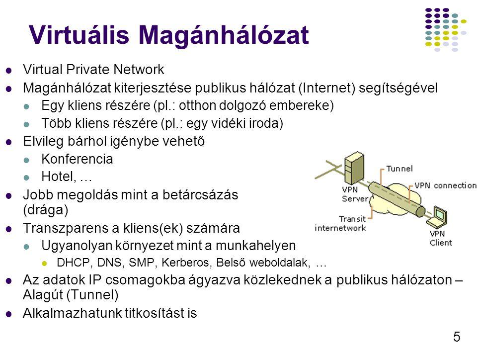 5 Virtuális Magánhálózat Virtual Private Network Magánhálózat kiterjesztése publikus hálózat (Internet) segítségével Egy kliens részére (pl.: otthon d
