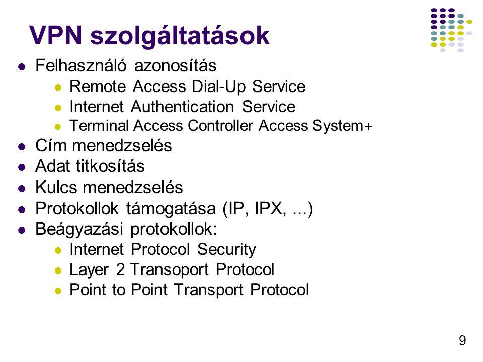 9 VPN szolgáltatások Felhasználó azonosítás Remote Access Dial-Up Service Internet Authentication Service Terminal Access Controller Access System + C