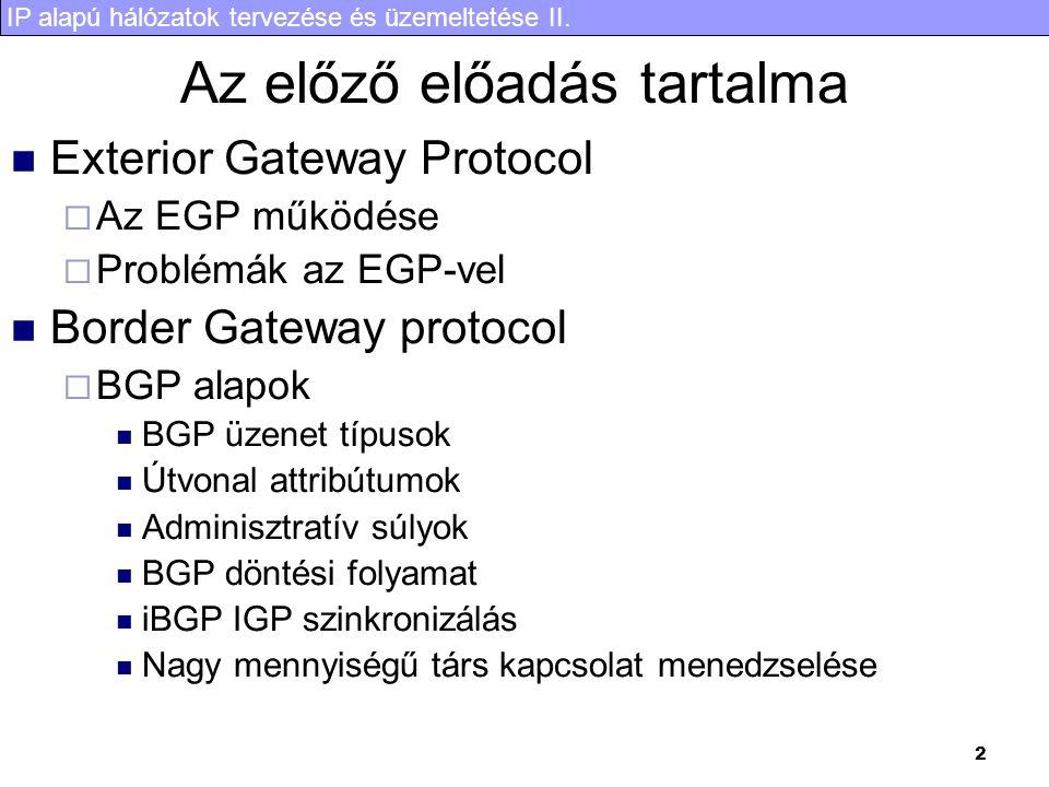 IP alapú hálózatok tervezése és üzemeltetése II. 33 SPT átállás Shortes Path Tree Switchover