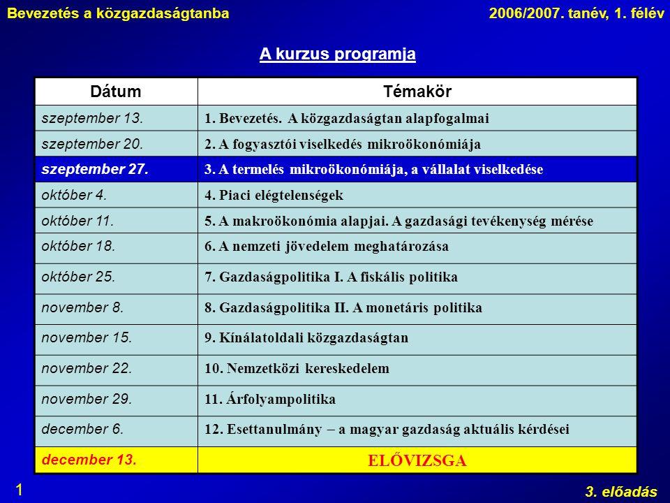 Bevezetés a közgazdaságtanba2006/2007. tanév, 1. félév 3. előadás 1 A kurzus programja DátumTémakör szeptember 13. 1. Bevezetés. A közgazdaságtan alap