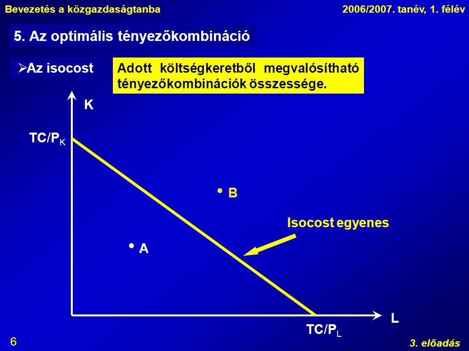 Bevezetés a közgazdaságtanba2006/2007. tanév, 1. félév 3. előadás 6 K L   A B Isocost egyenes TC/P K TC/P L  Az isocostAdott költségkeretből megval