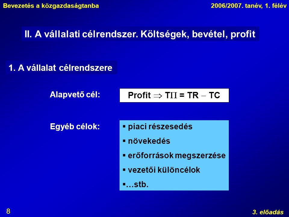 Bevezetés a közgazdaságtanba2006/2007. tanév, 1. félév 3. előadás 8 II. A vállalati célrendszer. Költségek, bevétel, profit 1. A vállalat célrendszere