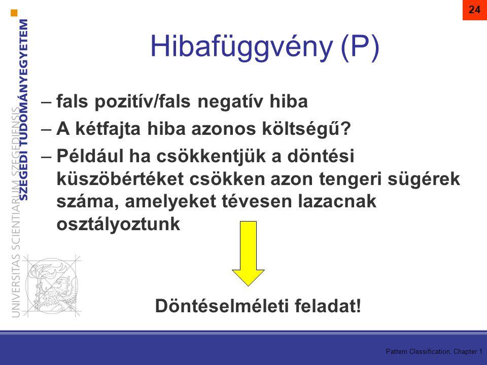 Pattern Classification, Chapter 1 24 –fals pozitív/fals negatív hiba –A kétfajta hiba azonos költségű? –Például ha csökkentjük a döntési küszöbértéket