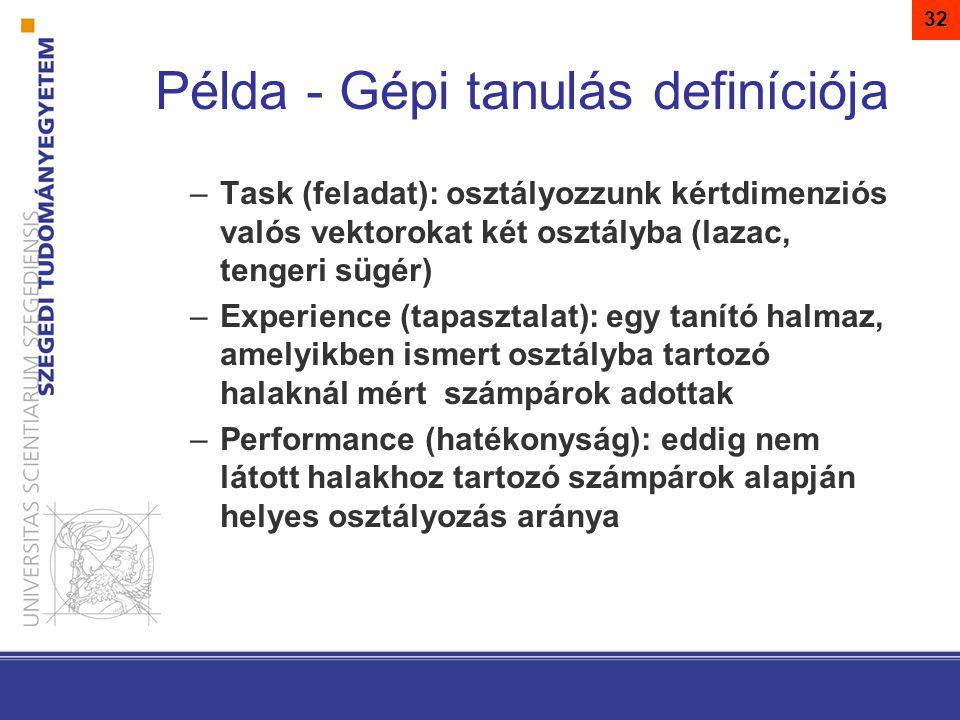 Példa - Gépi tanulás definíciója –Task (feladat): osztályozzunk kértdimenziós valós vektorokat két osztályba (lazac, tengeri sügér) –Experience (tapasztalat): egy tanító halmaz, amelyikben ismert osztályba tartozó halaknál mért számpárok adottak –Performance (hatékonyság): eddig nem látott halakhoz tartozó számpárok alapján helyes osztályozás aránya 32