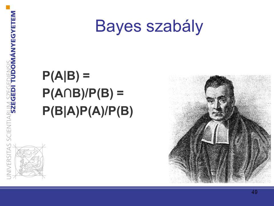 49 Bayes szabály P(A|B) = P(A∩B)/P(B) = P(B|A)P(A)/P(B)