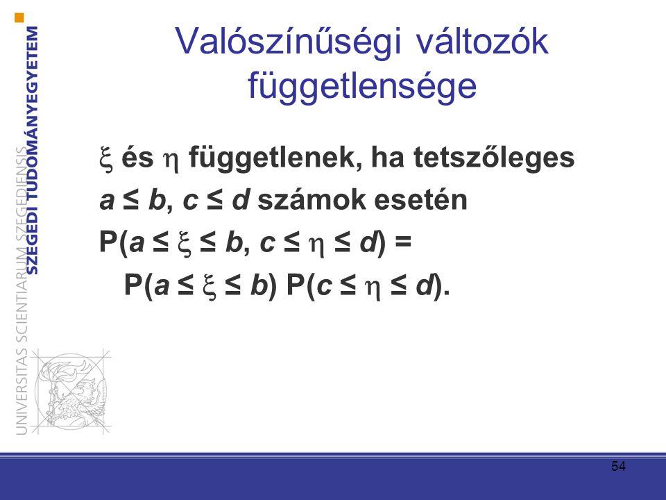 54 Valószínűségi változók függetlensége  és  függetlenek, ha tetszőleges a ≤ b, c ≤ d számok esetén P(a ≤  ≤ b, c ≤  ≤ d) = P(a ≤  ≤ b) P(c ≤  ≤ d).
