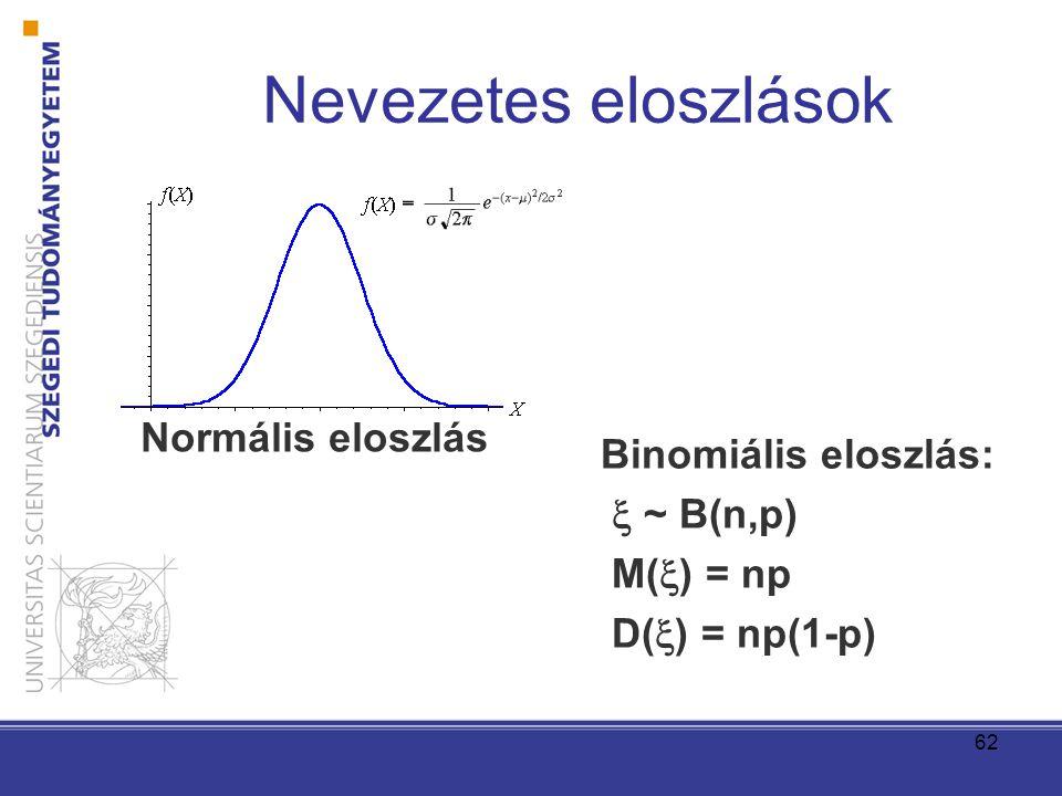 62 Nevezetes eloszlások Binomiális eloszlás:  ~ B(n,p) M(  ) = np D(  ) = np(1-p) Normális eloszlás