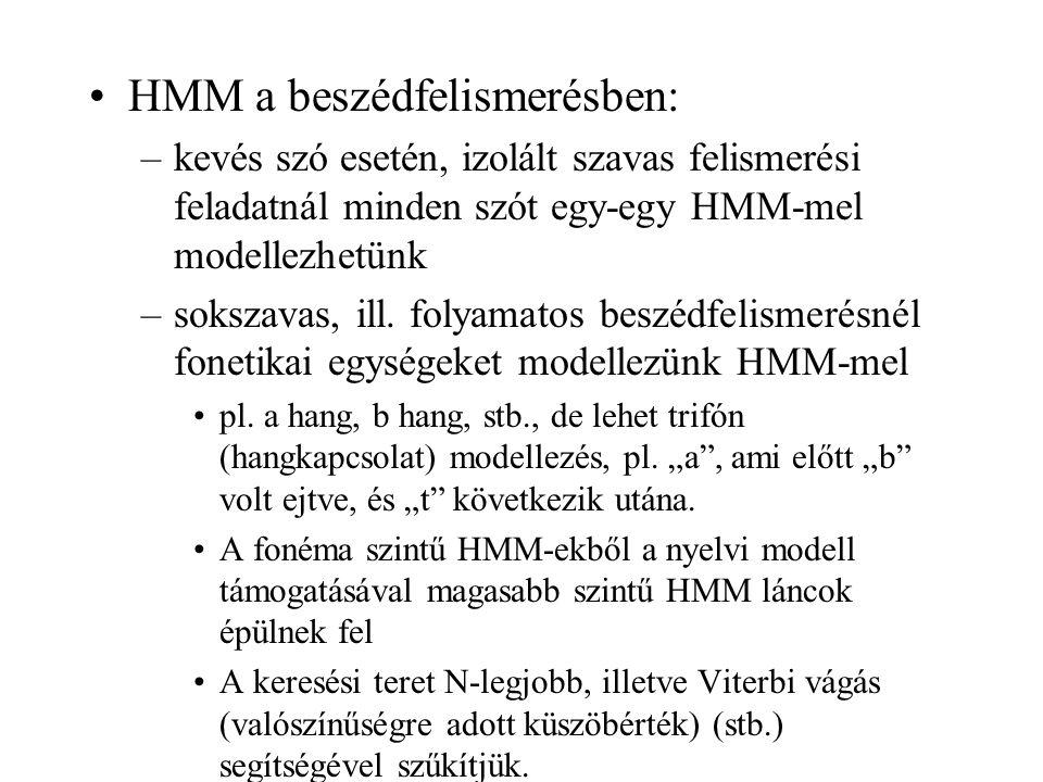 HMM a beszédfelismerésben: –kevés szó esetén, izolált szavas felismerési feladatnál minden szót egy-egy HMM-mel modellezhetünk –sokszavas, ill. folyam