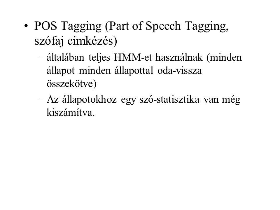 POS Tagging (Part of Speech Tagging, szófaj címkézés) –általában teljes HMM-et használnak (minden állapot minden állapottal oda-vissza összekötve) –Az