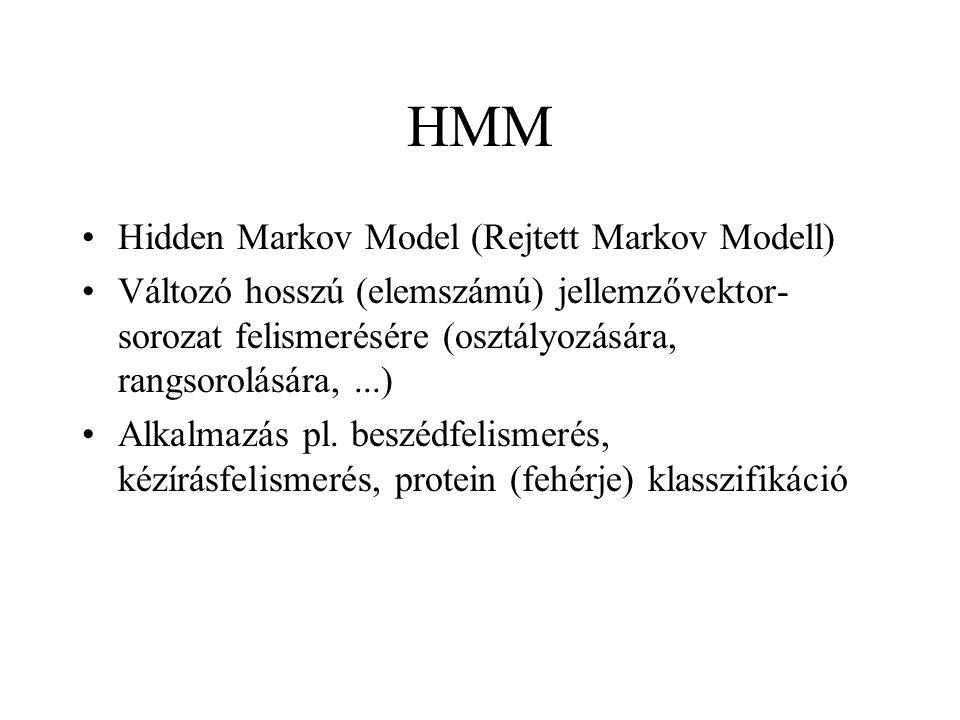 HMM Hidden Markov Model (Rejtett Markov Modell) Változó hosszú (elemszámú) jellemzővektor- sorozat felismerésére (osztályozására, rangsorolására,...)