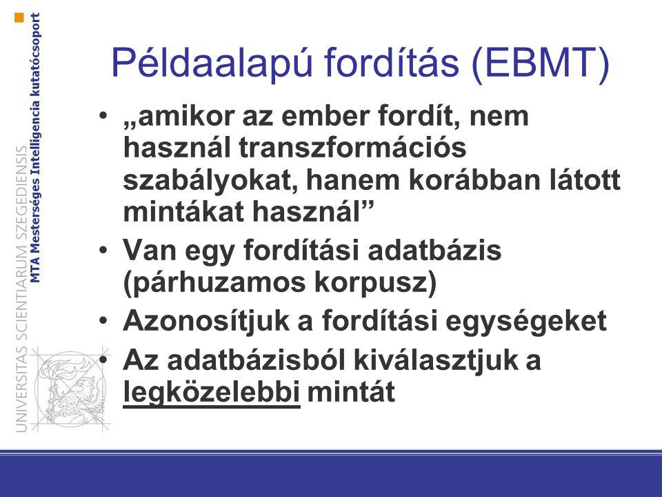 """Módszerek Példaalapú: adatbázisban tárolt mondatok/kifejezések közül melyikre hasonlít legjobban Szótáralapú: gyenge, rokon nyelvekre lehet jó (szintaktikai) transzfer alapú: legtöbb módszer ezt használja, tűrhető megoldások Interlingua: köztes nyelvre fordít – """"utópia"""