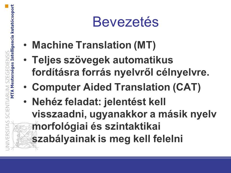 Bevezetés - 2 Jelenleg a minőség (jelentősen) elmarad az emberi fordítástól DE: bizonyos részterületeken elég –Receptek –Időjárás-jelentés Óriási igény lenne rá, főleg Magyarországon 