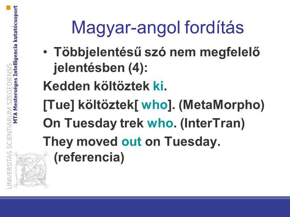 Magyar-angol fordítás Szótári-elemzői hiányosságok: Én inkább vennék egyet.
