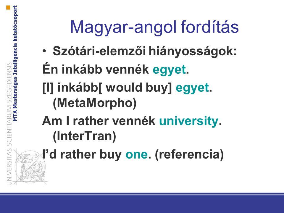 Magyar-angol fordítás Nyelvtani hiányosságok (1): Én inkább vennék egyet.
