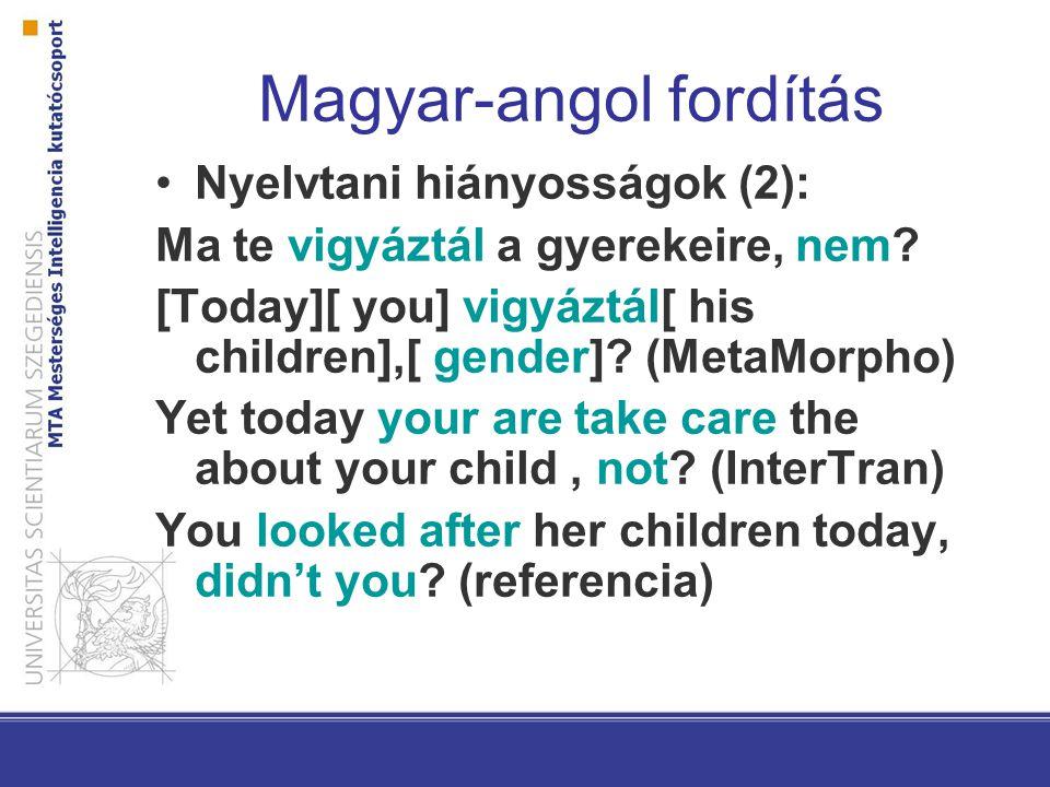 Magyar-angol fordítás Nyelvtani hiányosságok (2): Ma te vigyáztál a gyerekeire, nem? [Today][ you] vigyáztál[ his children],[ gender]? (MetaMorpho) Ye