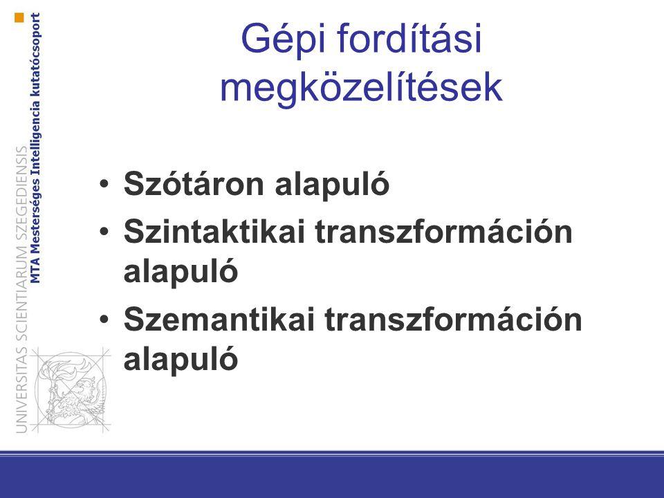 Szótáron alapuló fordítóprogram Elektronikus szótáron vagy kétnyelvű szólistákon alapszik A forrásnyelvi szavakat, szóalakokat vagy frázisokat szavaknak, szóalakoknak vagy frázisoknak felelteti meg a célnyelvben A különböző eljárások különböző problémákhoz vezetnek