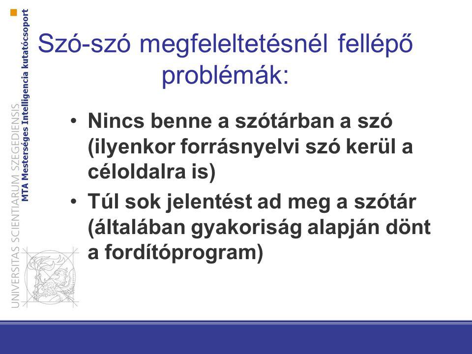 Szóalak-szóalak megfeleltetésnél fellépő problémák: A szótár csak egy szóalakot tartalmaz Agglutináló nyelvekben (pl.