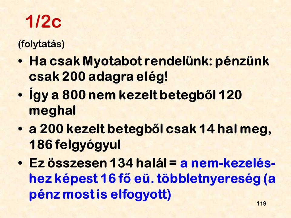 119 1/2c (folytatás) Ha csak Myotabot rendelünk: pénzünk csak 200 adagra elég! Így a 800 nem kezelt betegb ő l 120 meghal a 200 kezelt betegb ő l csak