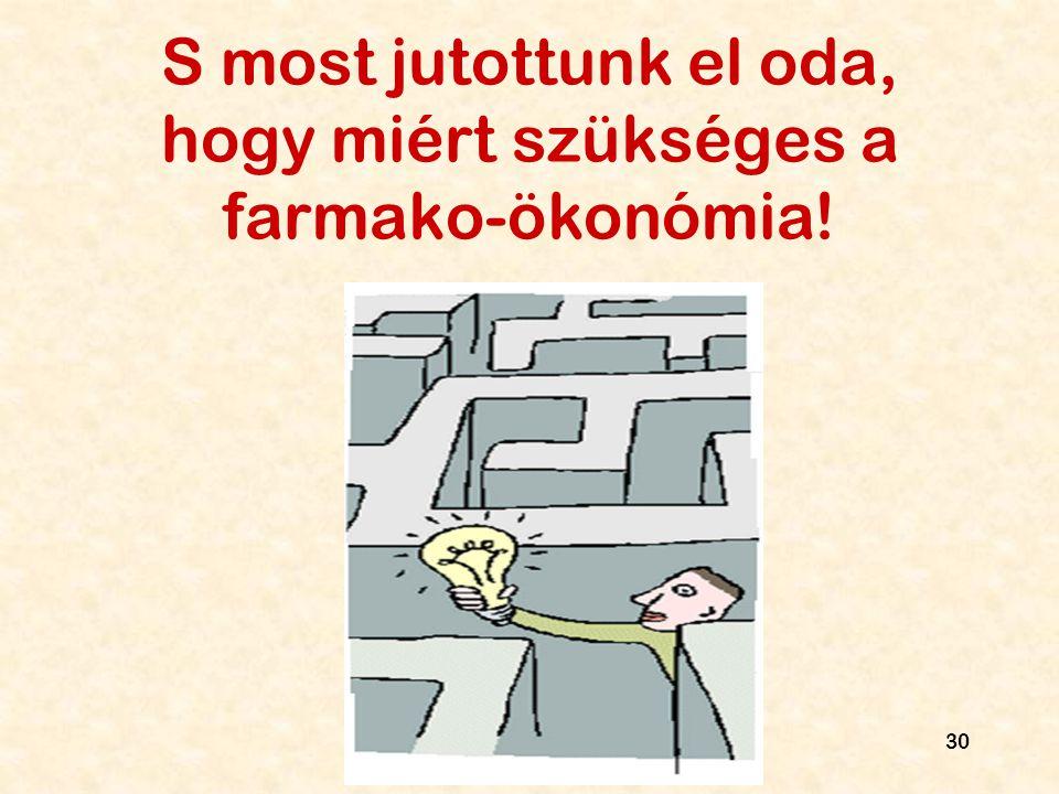 30 S most jutottunk el oda, hogy miért szükséges a farmako-ökonómia!