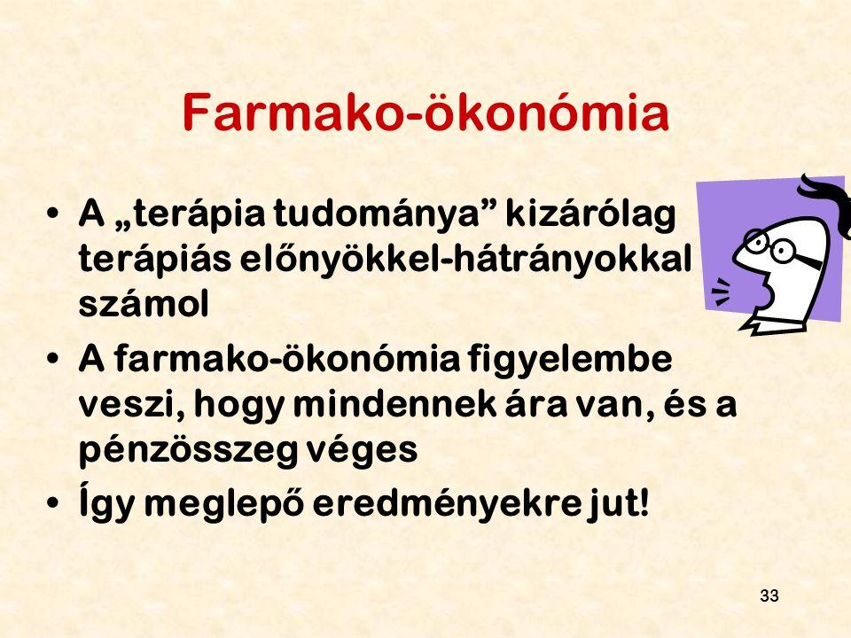 """33 Farmako-ökonómia A """"terápia tudománya"""" kizárólag terápiás el ő nyökkel-hátrányokkal számol A farmako-ökonómia figyelembe veszi, hogy mindennek ára"""