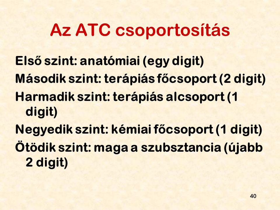 40 Az ATC csoportosítás Els ő szint: anatómiai (egy digit) Második szint: terápiás f ő csoport (2 digit) Harmadik szint: terápiás alcsoport (1 digit)