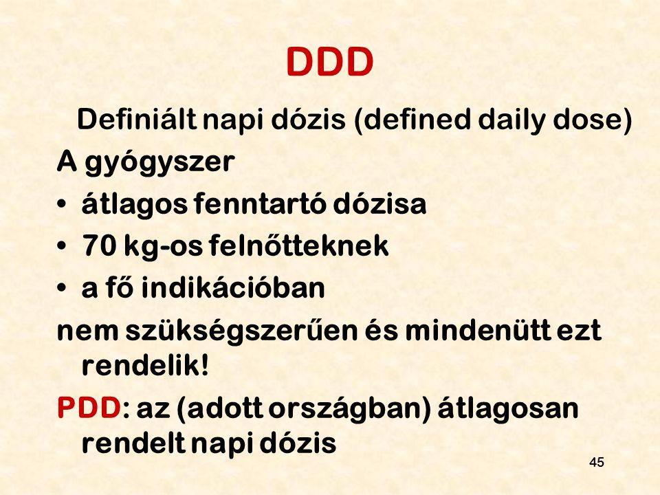45 DDD Definiált napi dózis (defined daily dose) A gyógyszer átlagos fenntartó dózisa 70 kg-os feln ő tteknek a f ő indikációban nem szükségszer ű en