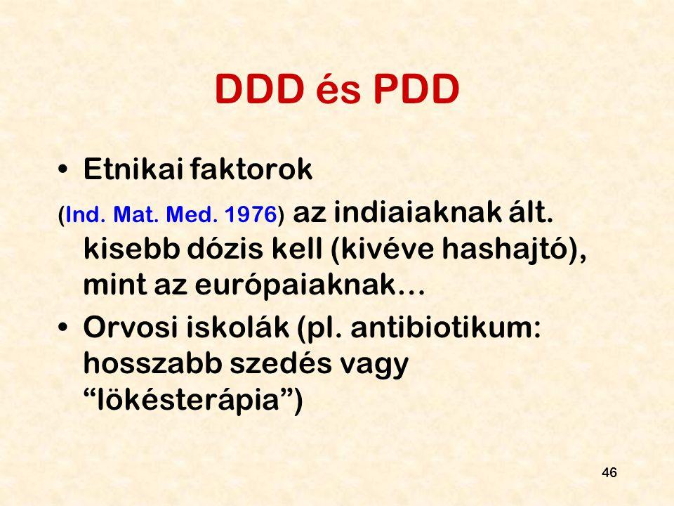 46 DDD és PDD Etnikai faktorok (Ind. Mat. Med. 1976) az indiaiaknak ált. kisebb dózis kell (kivéve hashajtó), mint az európaiaknak… Orvosi iskolák (pl