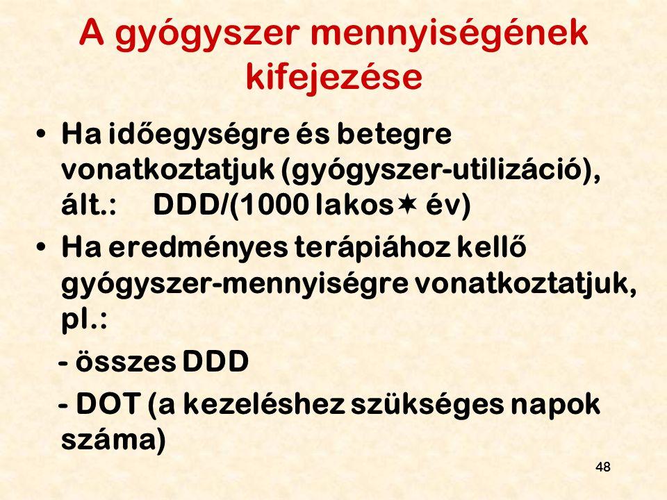 48 A gyógyszer mennyiségének kifejezése Ha id ő egységre és betegre vonatkoztatjuk (gyógyszer-utilizáció), ált.: DDD/(1000 lakos  év) Ha eredményes t