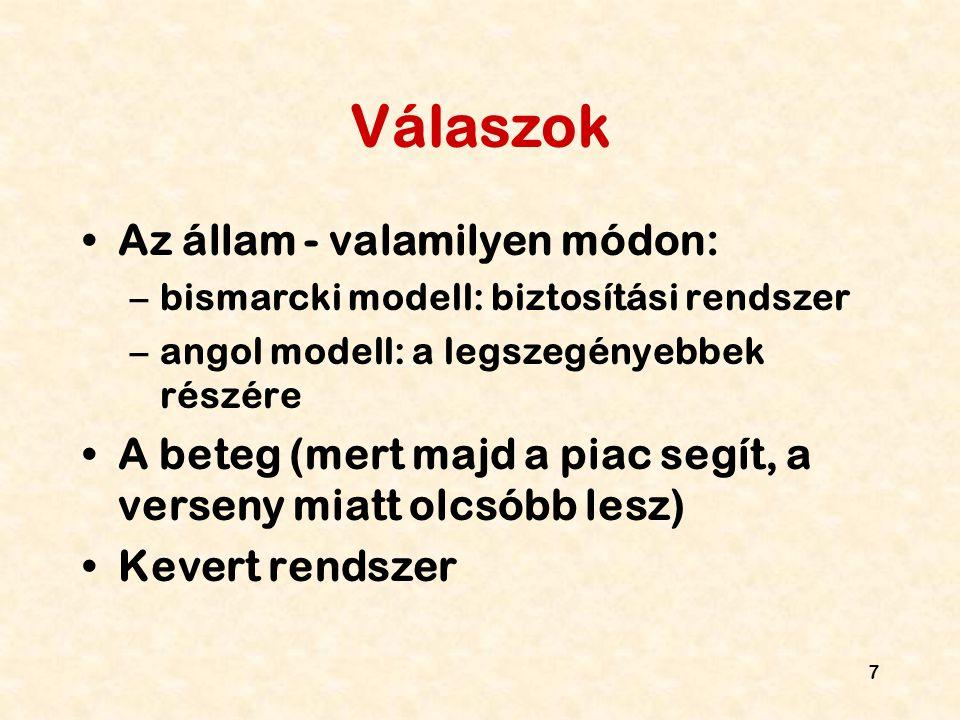 7 Válaszok Az állam - valamilyen módon: –bismarcki modell: biztosítási rendszer –angol modell: a legszegényebbek részére A beteg (mert majd a piac seg