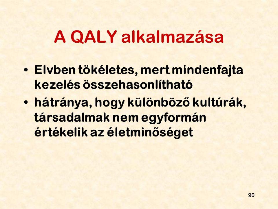 90 A QALY alkalmazása Elvben tökéletes, mert mindenfajta kezelés összehasonlítható hátránya, hogy különböz ő kultúrák, társadalmak nem egyformán érték