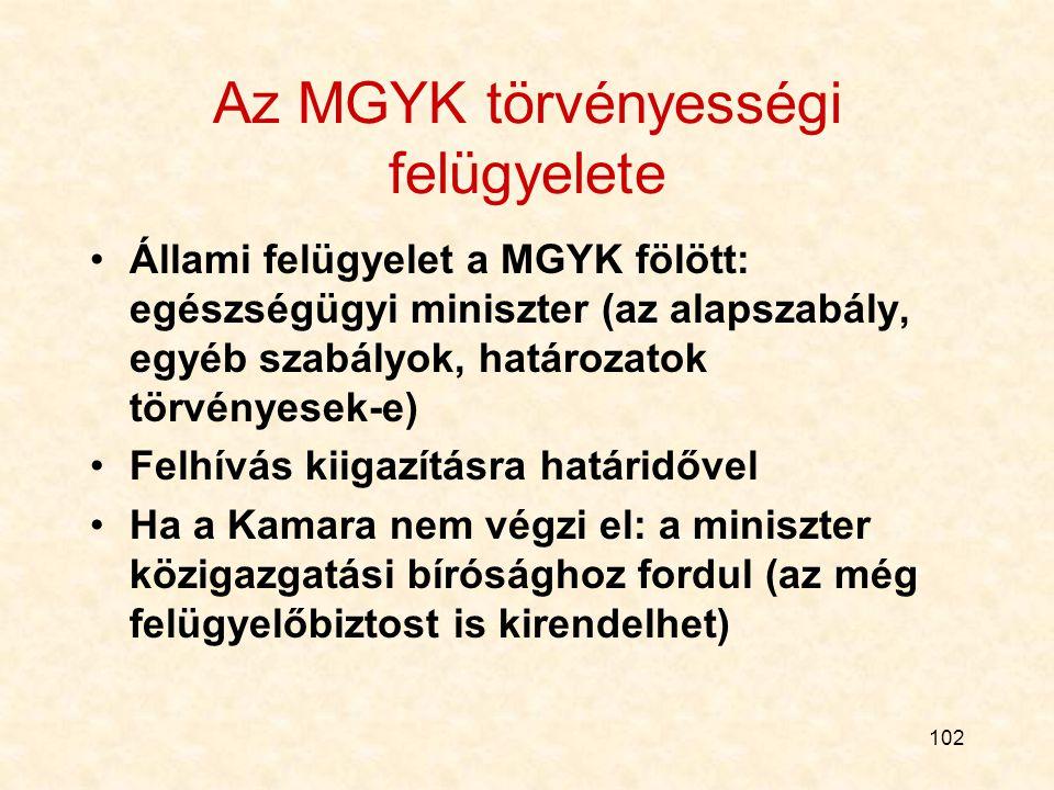 102 Az MGYK törvényességi felügyelete Állami felügyelet a MGYK fölött: egészségügyi miniszter (az alapszabály, egyéb szabályok, határozatok törvényesek-e) Felhívás kiigazításra határidővel Ha a Kamara nem végzi el: a miniszter közigazgatási bírósághoz fordul (az még felügyelőbiztost is kirendelhet)