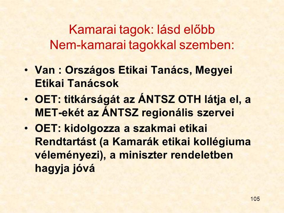 105 Kamarai tagok: lásd előbb Nem-kamarai tagokkal szemben: Van : Országos Etikai Tanács, Megyei Etikai Tanácsok OET: titkárságát az ÁNTSZ OTH látja el, a MET-ekét az ÁNTSZ regionális szervei OET: kidolgozza a szakmai etikai Rendtartást (a Kamarák etikai kollégiuma véleményezi), a miniszter rendeletben hagyja jóvá