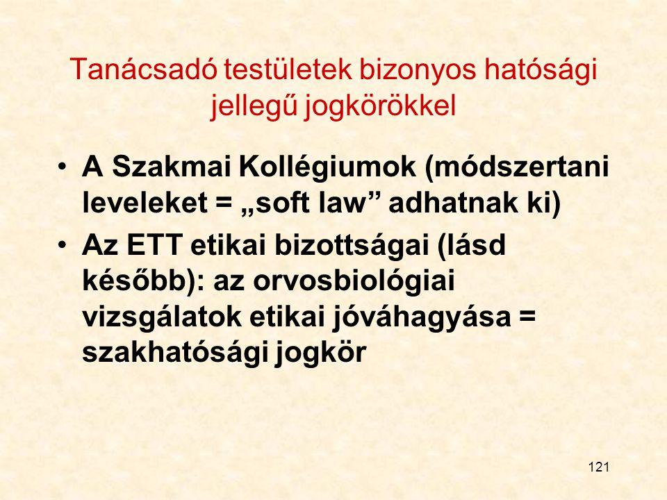 """121 Tanácsadó testületek bizonyos hatósági jellegű jogkörökkel A Szakmai Kollégiumok (módszertani leveleket = """"soft law adhatnak ki) Az ETT etikai bizottságai (lásd később): az orvosbiológiai vizsgálatok etikai jóváhagyása = szakhatósági jogkör"""
