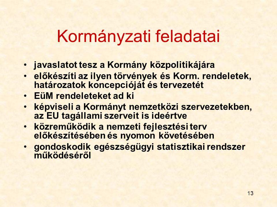 13 Kormányzati feladatai javaslatot tesz a Kormány közpolitikájára előkészíti az ilyen törvények és Korm.