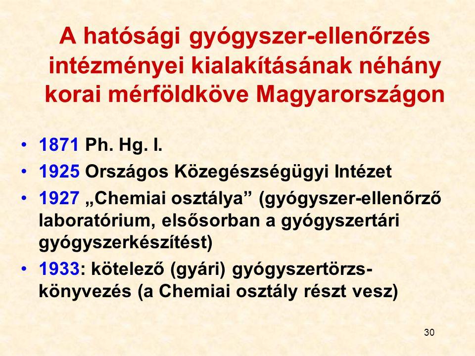 30 A hatósági gyógyszer-ellenőrzés intézményei kialakításának néhány korai mérföldköve Magyarországon 1871 Ph.