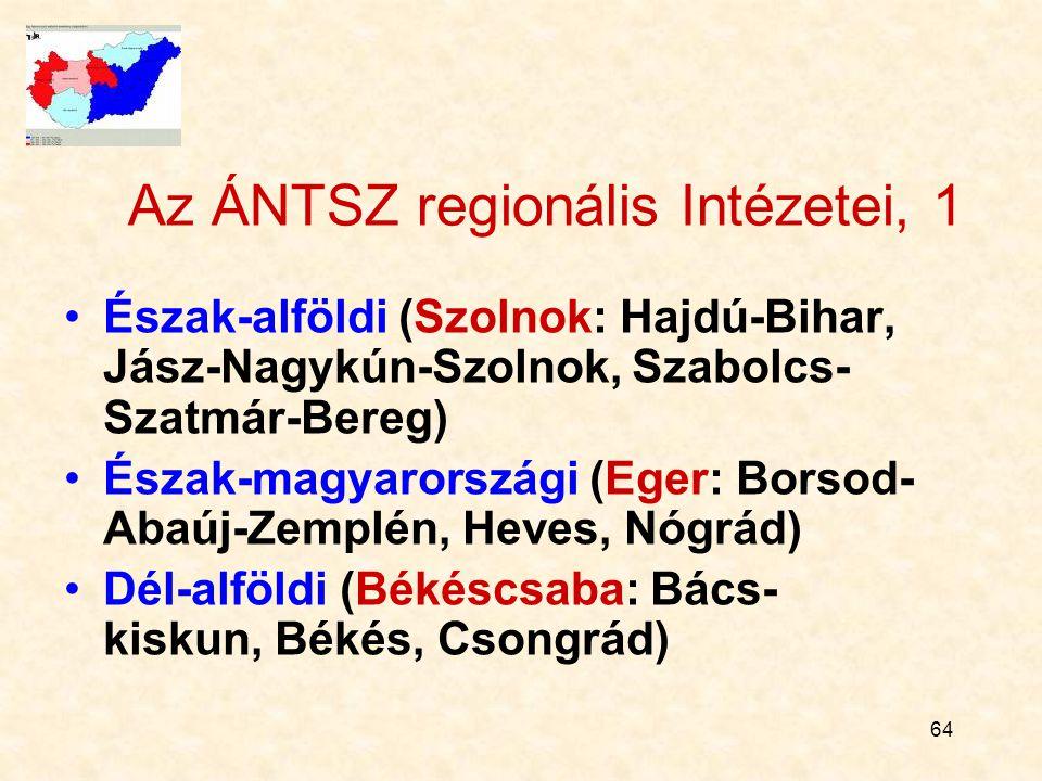 64 Az ÁNTSZ regionális Intézetei, 1 Észak-alföldi (Szolnok: Hajdú-Bihar, Jász-Nagykún-Szolnok, Szabolcs- Szatmár-Bereg) Észak-magyarországi (Eger: Borsod- Abaúj-Zemplén, Heves, Nógrád) Dél-alföldi (Békéscsaba: Bács- kiskun, Békés, Csongrád)