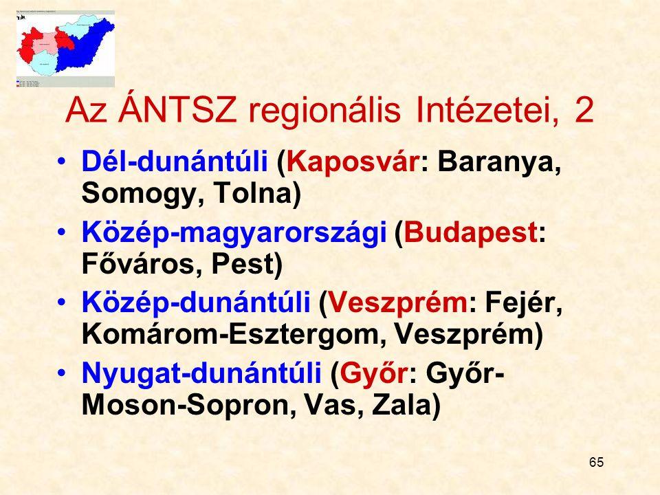 65 Az ÁNTSZ regionális Intézetei, 2 Dél-dunántúli (Kaposvár: Baranya, Somogy, Tolna) Közép-magyarországi (Budapest: Főváros, Pest) Közép-dunántúli (Veszprém: Fejér, Komárom-Esztergom, Veszprém) Nyugat-dunántúli (Győr: Győr- Moson-Sopron, Vas, Zala)
