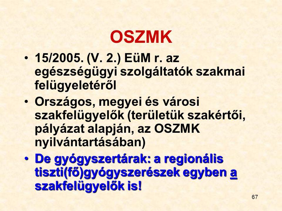 67 OSZMK 15/2005.(V. 2.) EüM r.
