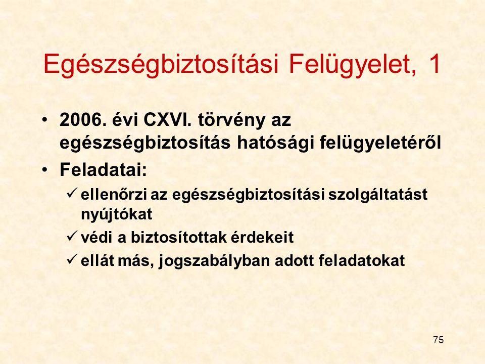 75 Egészségbiztosítási Felügyelet, 1 2006.évi CXVI.