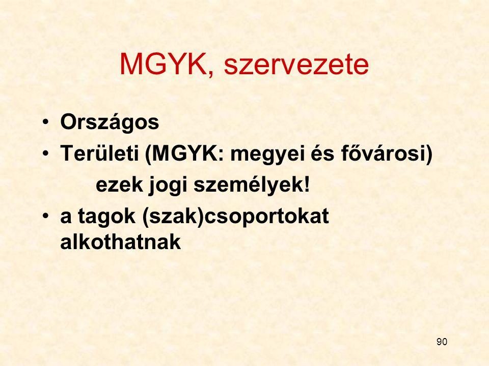 90 MGYK, szervezete Országos Területi (MGYK: megyei és fővárosi) ezek jogi személyek.