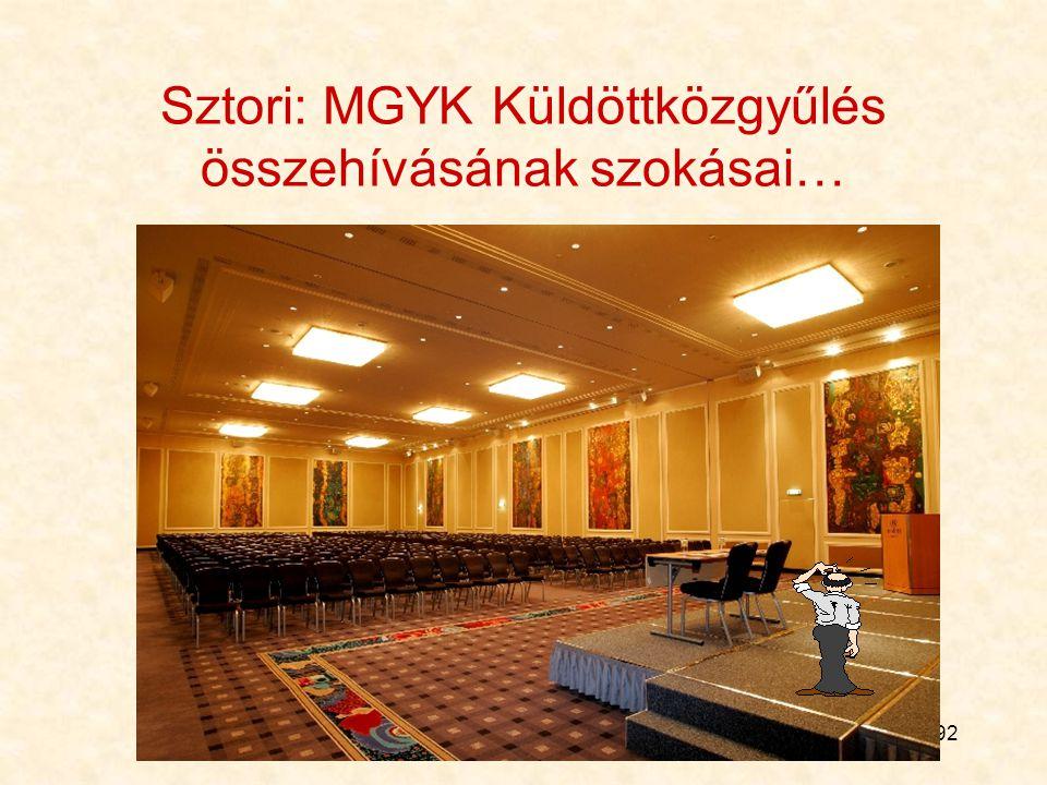 92 Sztori: MGYK Küldöttközgyűlés összehívásának szokásai…