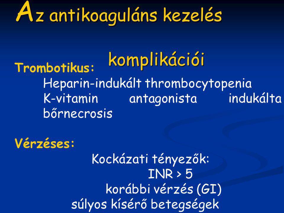 Trombotikus: Heparin-indukált thrombocytopenia K-vitamin antagonista indukálta bőrnecrosis Vérzéses: Kockázati tényezők: INR > 5 korábbi vérzés (GI) s